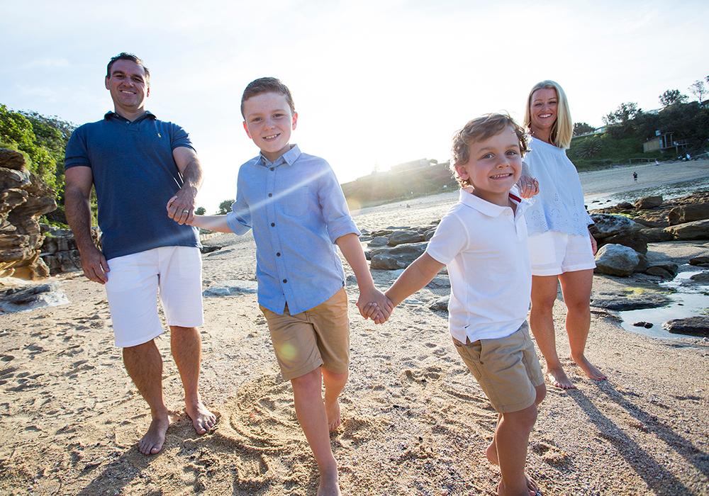 family portrait on beach