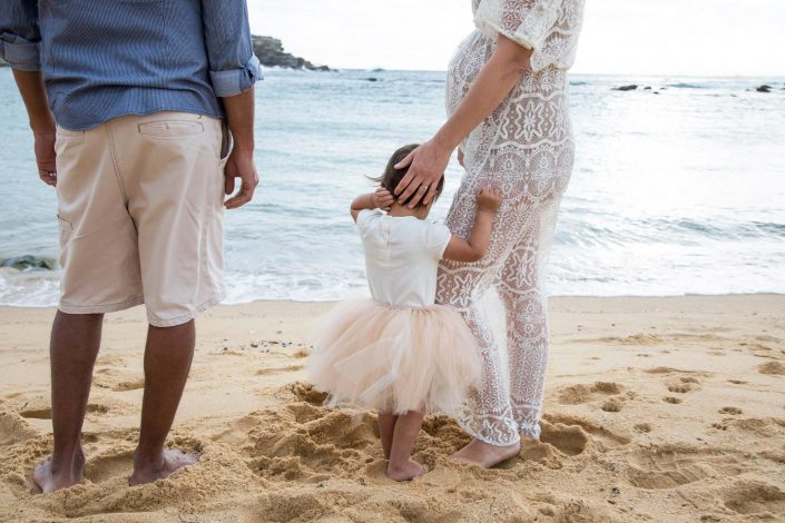 Mum, Dad and daughter on beach - Shannon Elise Photography