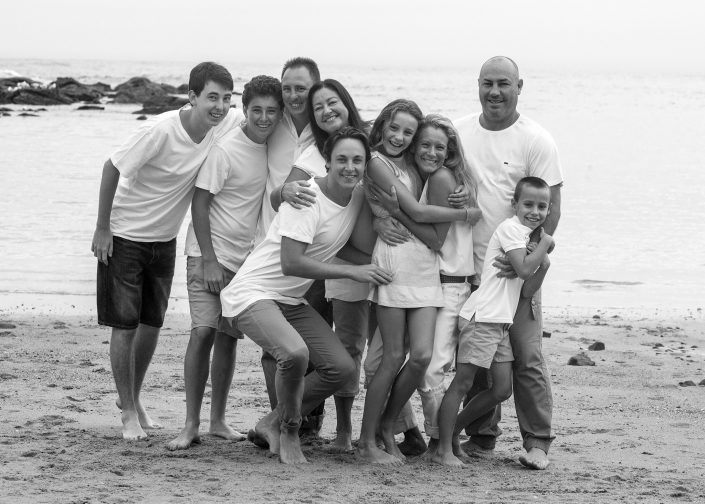 Black and White Family Beach Photo