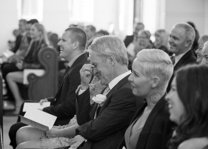 emotional family at wedding ceremony
